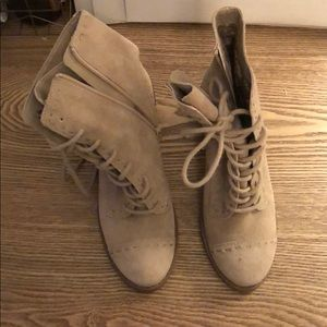 Seychelles suede taupe block heeled combat boots.